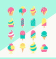 ice cream set of icons in pastel colors vector image vector image