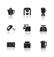 Kitchen electronics drop shadow icons set vector image vector image