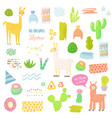 llamas childish elements set cactuses and alpacas vector image