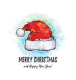merry christmas greeting card santa claus hat vector image vector image