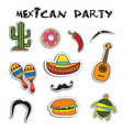 mexican party sticker applique set vector image vector image