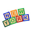 new york wooden block letters vector image vector image