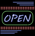 open shop neon light sign vector image