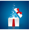 opened realistic gift box with purple bow and vector image