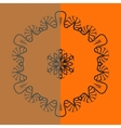 Outlined mandala over bright orange background vector image