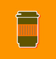 paper sticker on stylish background coffee to go vector image vector image