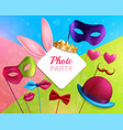 photo booth party 3d composition vector image vector image