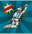 pop art astronaut soaring or flying on rocket vector image
