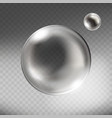 realistic silver glass sphere transparent vector image vector image