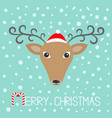reindeeer head in santa claus hat merry christmas vector image vector image
