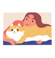 relaxing cheerful young woman with fluffy fat cat vector image vector image
