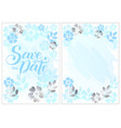 save the date in blue with flowers and border vector image
