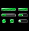 set glossy green striped buttons for interface vector image