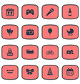 set of simple birthday icons vector image