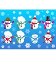 Set of snowmen wearing different hats vector image