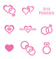 simple monochrome wedding symbols vector image vector image