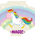 smiling magic unicorn vector image
