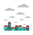 Street of houses on cloudy day vector image