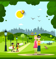 summer day in park with couple in love friends vector image vector image