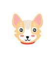 sweet dog head funny cartoon animal character vector image