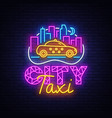 taxi service neon sign design template vector image