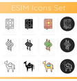 traditional religious muslim rituals icons set vector image