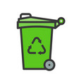 trash can and recycle symbol filled line flat icon vector image