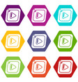 video icons set 9 vector image
