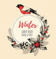 vintage card with finch and holly vector image vector image