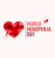world hemophilia day - red paper cut blood heart vector image vector image