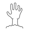 zombie hand thin line icon undead vector image vector image