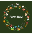 Postcard template of modern flat design farm and vector image