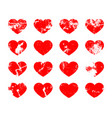 set of hearts in grunge style vector image