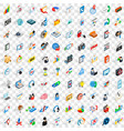 100 web development icons set isometric 3d style vector image vector image