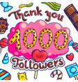 1000 followers greeting candy shop post template vector image