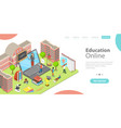 3d isometric flat landing page template of vector image vector image