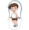 a boy skipping rope vector image vector image