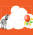 a zebra on party background vector image vector image