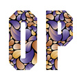 Beautiful floral alphabet letters O and P vector image vector image