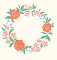 beautiful floral circular frame hand-drawn vector image