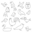 birds digital stamps vector image vector image