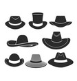 black hats icons set vector image