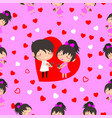 boy and girl love hearts seamless pattern vector image