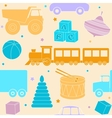Bright seamless pattern with toys vector image vector image