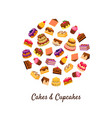 cakes and cupcakes banner template delicious vector image vector image