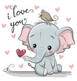cartoon elephant with heart on white background vector image vector image