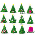 christmas tree funny cartoon sticker vector image