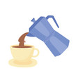 coffee moka pot pouring on cup fresh isolated icon vector image vector image