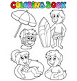 coloring book with swimming kids vector image