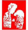 couple in love silhouette with floral ornament 1 vector image